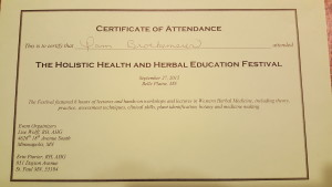 Attended the Holistic Health and Herbal Education Festival on Sept. 27, 2015